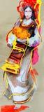 Attingere carta del vestito bulgaro tradizionale con il rituale Fotografie Stock Libere da Diritti