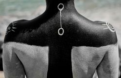 Attingere il corpo dei simboli antichi Fotografia Stock Libera da Diritti