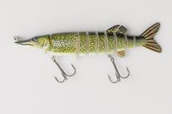 Attirails de pêche sur un fond blanc Photo stock