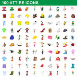 100 attire icons set, cartoon style. 100 attire icons set in cartoon style for any design vector illustration Royalty Free Stock Images