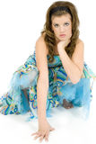 Attitude. Beautiful teen girl barefoot in formal dress. Attitude express stock photography