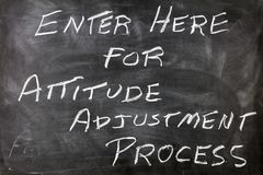 Attitude adjustment process message. Enter here for positive attitude adjustment process concept black chalk board education learning words motivational message stock photos