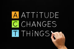 Attitude Changes Things. Hand writing Attitude Changes Things with white chalk on blackboard stock image