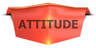 Banner attitude. Attitude 3D rendered red banner , isolated on white background Royalty Free Stock Image