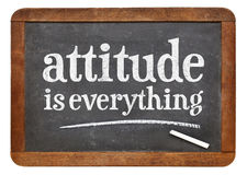 Attitude is everything blackboard sign. Attitude is everything - motivational concept -white chalk text on a vintage slate blackboard stock image