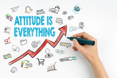 Attitude Is Everything, Business Concept. Hand with marker writing Stock Photography