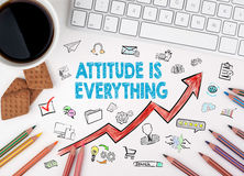 Attitude Is Everything. Business Concept. White office desk Stock Photos