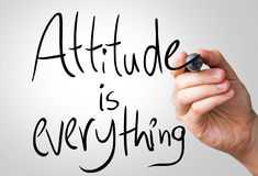 Attitude is everything hand writing with a black mark on a transparent board Royalty Free Stock Photo