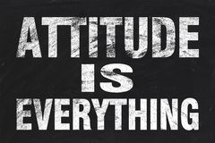 Attitude is everything. Text is written by white chalk on blackboard royalty free stock images