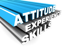 Attitude experience skills. Words attitude experience skills on top of each other zooming into view Royalty Free Stock Photography
