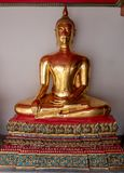 The attitude of meditation. In the temple stock image