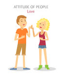 Attitude of People. Boy and Girl in Love. Vector. Attitude of people. Boy and girl in love. Sanguine temperament people. Happy couple, first engagement, passion Royalty Free Stock Image