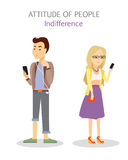 Attitude of People. Indifference. Apathy Teenagers. Playing on telephone. Phlegmatic temperament. Indifferent man and woman. Serious calm individuality. Focused Royalty Free Stock Photography