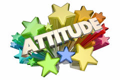 Attitude Positive Outlook Stars Word. 3d Illustration Royalty Free Stock Image