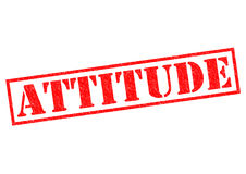 ATTITUDE. Red Rubber Stamp over a white background stock images