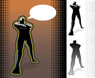 Attitude Stance. Set of mascular man in different variation stance,  illusration against a halftone background Royalty Free Stock Images
