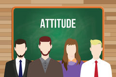Attitude text on chalkboard illustration with man and woman in front of the board Royalty Free Stock Photography