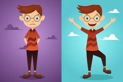Before and after: attitude. A vector  illustration of a beautiful man before and after attitude change Royalty Free Stock Photo