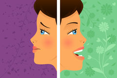 Before and after: attitude. A vector  illustration of a beautiful woman before and after attitude change Stock Images