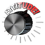 Attitude Volume Knob Turned to Highest Level to Succeed. An amplifier or speaker type volume knob with the pointer turned up to the word Attitude to represent stock illustration
