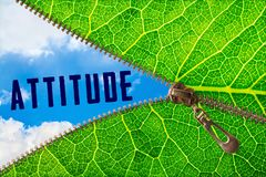Attitude word under zipper leaf. Open zipper leaf and showing sky with attitude word royalty free stock photos