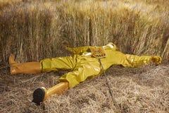 Attivista che protesta contro il giacimento vicino morto geneticamente modificato dei cereali Fotografia Stock