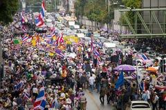 Attivisti tailandesi sulla strada di Phayathai Fotografie Stock Libere da Diritti