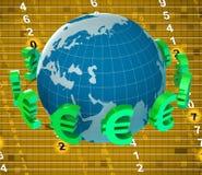 Attività bancarie di Euros Means Foreign Exchange And dei forex Immagini Stock Libere da Diritti