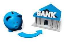 Attività bancarie di Piggybank Fotografia Stock