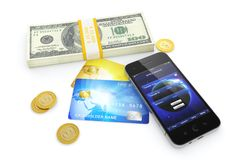 Attività bancarie mobili Fotografia Stock Libera da Diritti