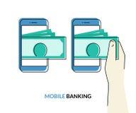Attività bancarie mobili Fotografia Stock