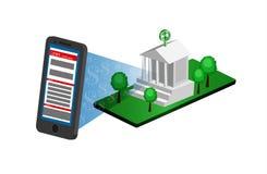 Attività bancarie mobili, trasferimento di denaro Immagine Stock