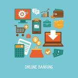 Attività bancarie online ed affare Fotografia Stock Libera da Diritti