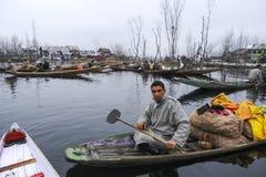 Attività della gente locale nel lago dal nel Kashmir India Immagine Stock