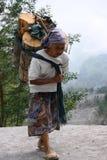 Attività della gente sui pendii del monte Merapi Fotografia Stock Libera da Diritti