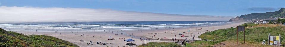 Attività della spiaggia - panorama Immagine Stock
