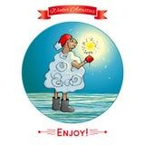 Attività di inverno Agnello con la stella filante, luce di Bengala ENV, JPG Fotografia Stock Libera da Diritti