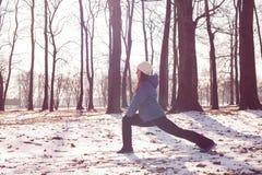 Attività di inverno della donna di forma fisica immagine stock