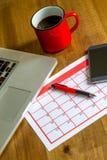 Attività mensili d'organizzazione nel calendario Fotografie Stock