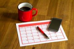 Attività mensili d'organizzazione nel calendario Fotografia Stock Libera da Diritti