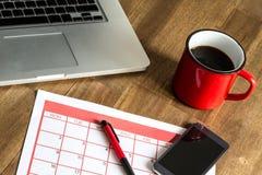 Attività mensili d'organizzazione nel calendario Fotografia Stock