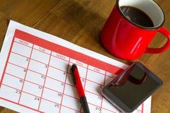Attività mensili d'organizzazione nel calendario Immagini Stock Libere da Diritti