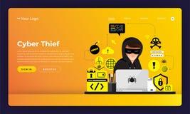 Attività piana del pirata informatico di concetto di progetto del sito Web di progettazione del modello cyber illustrazione vettoriale