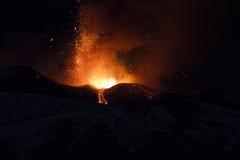 Attività vulcanica di Etna Immagine Stock