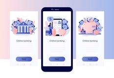 Attivit? bancarie online Modello dello schermo per lo Smart Phone mobile, pagina d'atterraggio, modello, ui, web, app mobile, man royalty illustrazione gratis