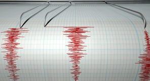 Attività di terremoto del sismografo Fotografie Stock Libere da Diritti