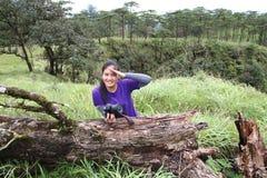 Atto della ragazza in abetaia Fotografie Stock Libere da Diritti