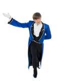 Attore in coda-cappotto blu. immagini stock