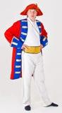 Attore in costume del capitano di nave Fotografie Stock