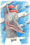 Attore del lupo in un cappello rosso Illustrazione per le edizioni ed i manifesti nell'interno illustrazione di stock